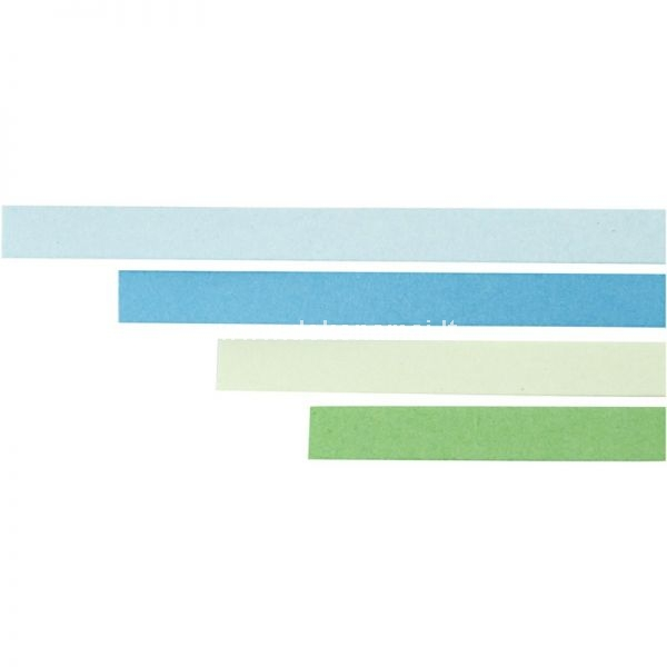 W: 5 mm, L: 78 cm Paper strips suitable for quilling. Can be shaped into fine patterns on cards, suspension etc.  Pk. with 4 Colours each 25 pcs.blue, turquoise, green, lime green