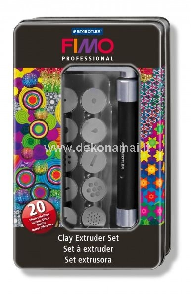 Easy-to-use clay extruder for all unhardened modelling clays<br />    The 20 different motif discs can be used to produce strings of clay<br />    Not much effort required; no need to stop<br />    High-quality design, easy to clean<br />    Perfect complement to the extensive FIMO professional range<br />    Designed to satisfy the needs of artists and advanced users<p>Set containing Clay extruder with crank handle (cylinder length 11 cm, inside diameter 1.7 cm), 20 different motif discs, 3 spare rubber washers, Free-of-charge blade, Storage case, Detailed booklet with step-by-step instructions</p>