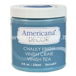 Americana Decor® Chalky Finish paint is an ultra-matte chalk paint that requires no priming or sanding before using. The color palette includes 29 intermixable colors carefully selected with home decor trends in mind. Whether your project is a small, decorative flea market frame or a large buffet found at an estate sale, Chalky Finish comes in just the right size — 2 oz*, 4 oz, 8 oz, and 16 oz. An 8 ounce jar covers approximately 60 square feet on sealed surfaces.